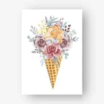 Cone de gelo com aquarela rosa laranja marrom