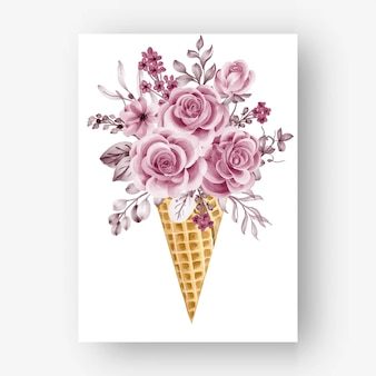 Cone de gelo com flores e folhas em aquarela ouro rosa