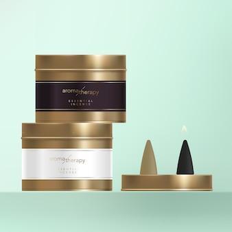 Cone de incenso com latão de acabamento em metal bronze, enrole a etiqueta com folha de ouro.