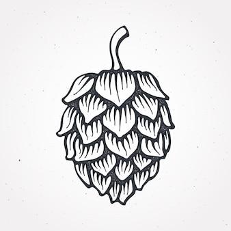 Cone de lúpulo ilustração vetorial bar de cerveja e contorno de símbolo de bebida alcoólica isolado