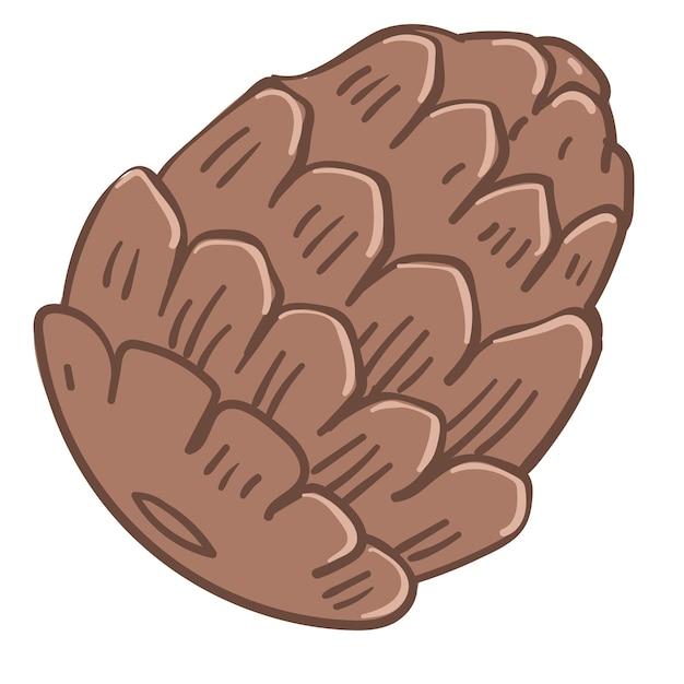 Cone de pinheiro, ícone isolado botânica com corpo fechado. símbolo do natal e férias de inverno, ano novo e celebração. aroma a zimbro ou conífera, flora selvagem decorativa. vetor em estilo simples