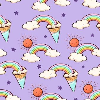 Cone de sorvete bonito arco-íris e estrela branca sem costura padrão