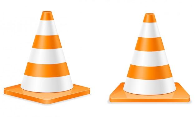 Cone de tráfego de plástico para limitar o transporte de tráfego