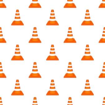 Cone de tráfego de rodovia laranja com pettern de listras brancas. ilustração vetorial.