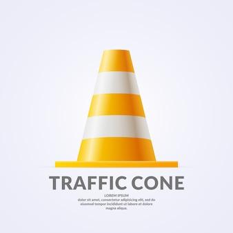 Cone de tráfego volumétrico realista isolado na luz de fundo.