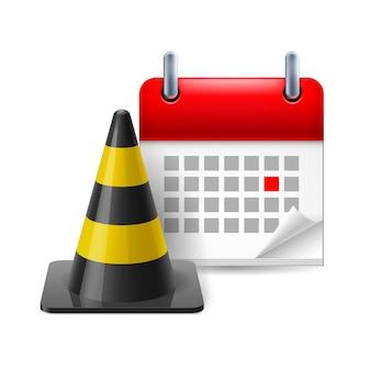 Cone de trânsito e calendário