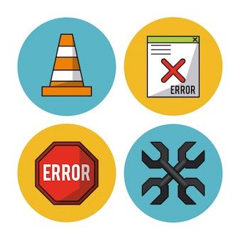 Cone de trânsito e chave inglesa cruzada e erro de janela de cartaz e computador