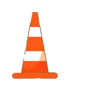 Cone de trânsito que conduz obstáculo de escola isolado no branco