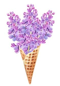 Cone de waffle cheio de flores lilás.