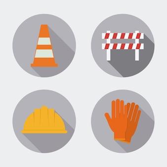 Cone helmet gloves barrier icon