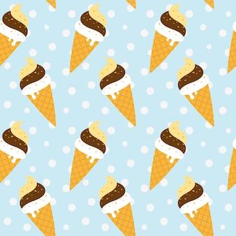 Cone sorvete sem costura padrão em fundo azul