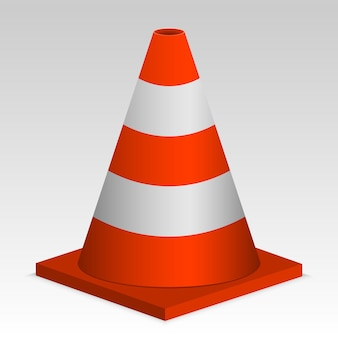 Cone vermelho do tráfego 3d. sinal vector