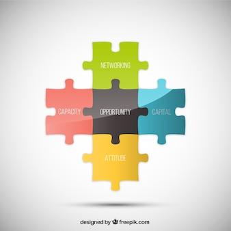 Conectado infográfico quebra-cabeça