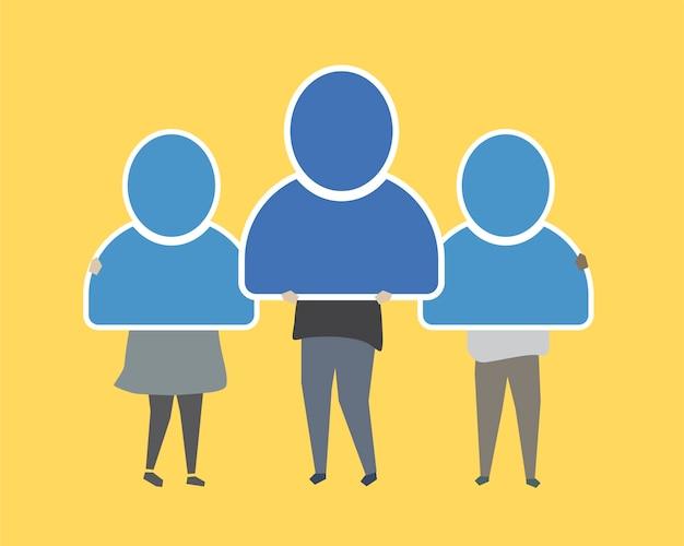 Conectando as pessoas umas com as outras ilustração