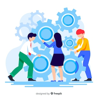 Conectando equipes conceito de página de destino