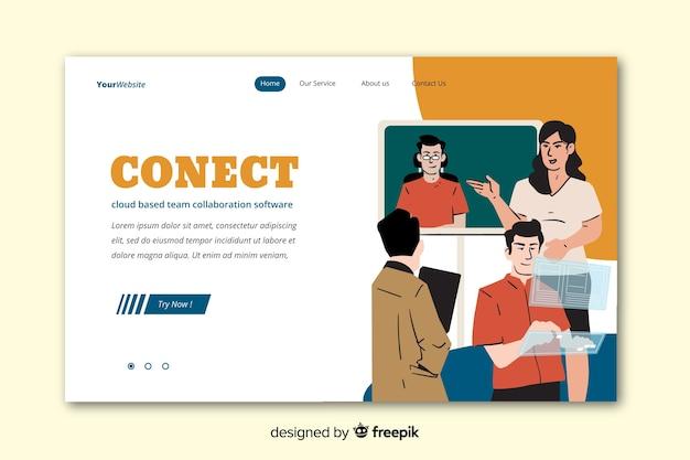 Conectando equipes conceito para landing page