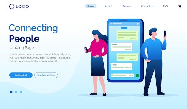 Conectando pessoas ilustração do site da página de destino