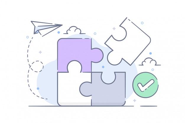 Conectando quebra-cabeça e ilustração de resolução de problemas