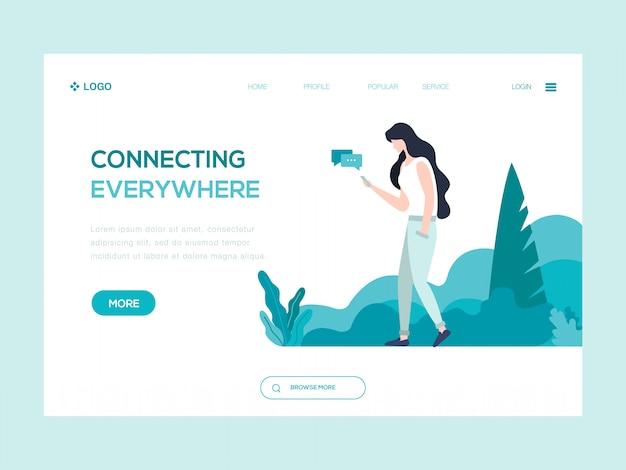 Conectando-se em todos os lugares ilustração web