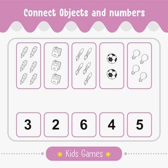 Conectar objetos e números - planilha educacional para crianças