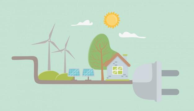 Conecte e salve o design de elementos de energia
