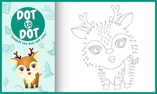 Conecte o jogo de crianças dos pontos e a página para colorir com um cervo fofo
