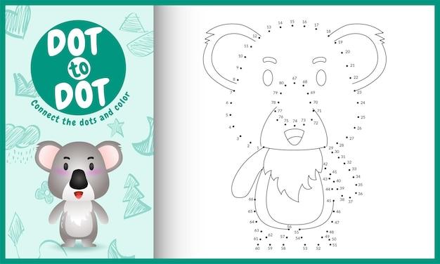 Conecte o jogo de crianças pontos com uma ilustração de personagem de coala fofa