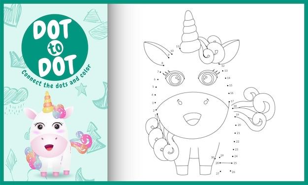 Conecte o jogo de crianças pontos com uma ilustração de personagem fofa de unicórnio