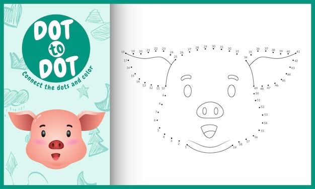 Conecte o jogo de crianças pontos e página para colorir com um personagem bonito de porco com cara