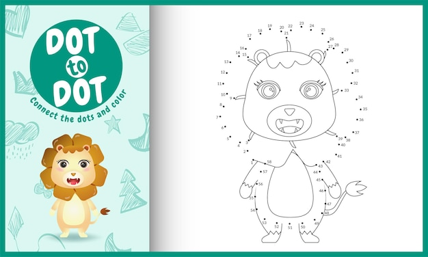 Conecte o jogo de crianças pontos e página para colorir com um personagem leão bonito