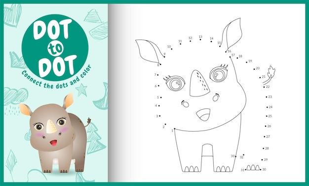Conecte o jogo de crianças pontos e página para colorir com um personagem rinoceronte fofo