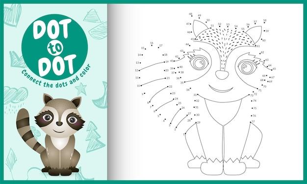 Conecte o jogo de pontos para crianças e a página para colorir com o personagem guaxinim