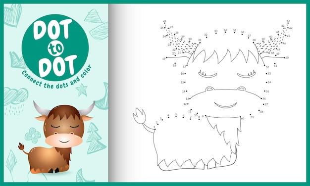 Conecte o jogo de pontos para crianças e a página para colorir com um búfalo fofo