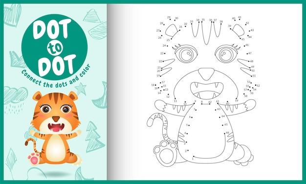 Conecte o jogo de pontos para crianças e a página para colorir com um tigre fofo