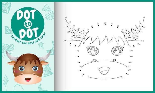 Conecte o jogo de pontos para crianças e página para colorir com uma ilustração de personagem de búfalo com rosto bonito