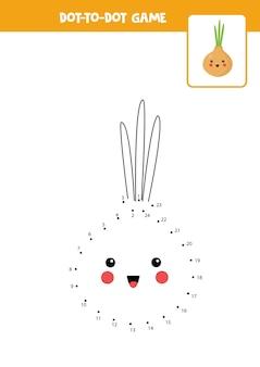 Conecte o jogo dos pontos com a cebola dos desenhos animados kawaii. planilha educacional.