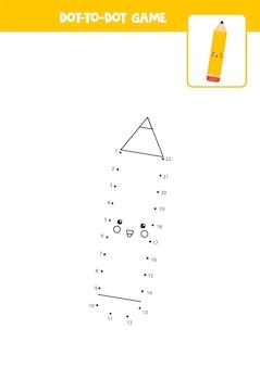 Conecte o jogo dos pontos com lápis de desenho animado. planilha educacional