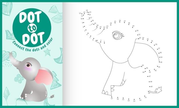 Conecte o jogo dos pontos para crianças e a página para colorir com um elefante fofo
