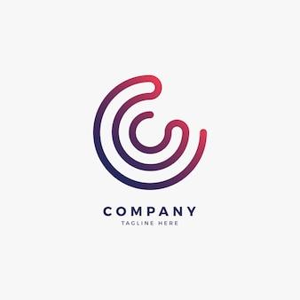 Conecte o modelo de logotipo do logotipo da letra c