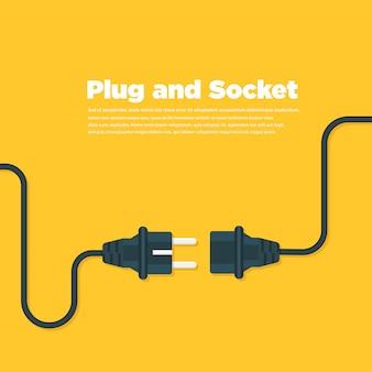 Conecte o plugue e soquete ícone plana
