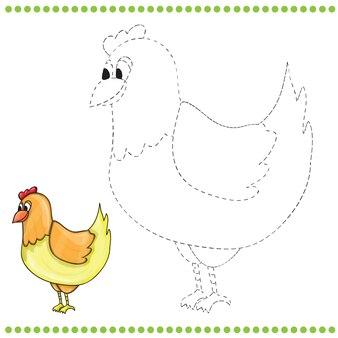 Conecte os pontos e a página para colorir do engraçado frango da fazenda