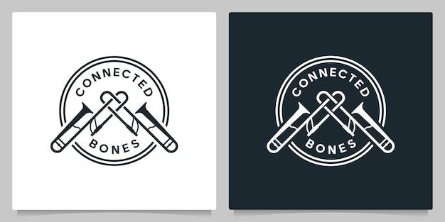 Conecte trompete jazz instrumental logo design ilustração vintage