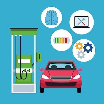 Conectividade de internet de carro em posto de gasolina