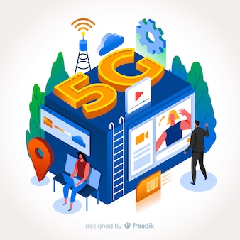 Conectividade de rede 5g em desenho isométrico