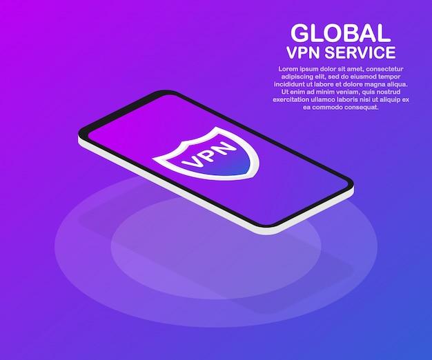 Conectividade vpn. conceito de conexão de rede privada virtual segura. isométrico em cores ultravioletas.