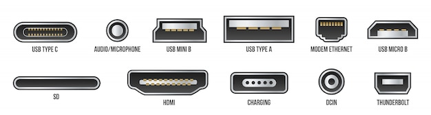 Conectores usb, mini, micro, relâmpago, tipo a, b, c.