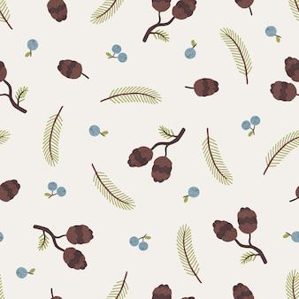 Cones, bagas e ramos de pinheiro, padrão sem emenda de outono sazonal. ilustração vetorial