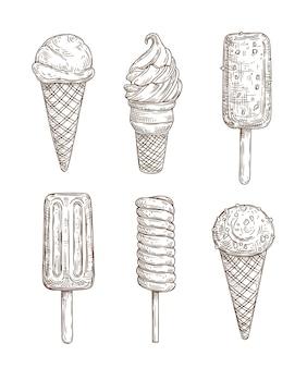 Cones de sorvete, stiks, gelato, sorvete, picolé