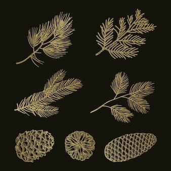 Cones e ramos de pinheiro dourado doodle conjunto de vetores