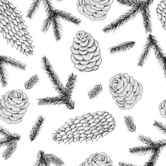 Cones sem costura padrão e galhos de árvores de pinheiro e abeto